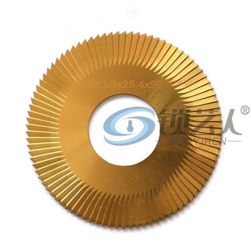 高速钢涂钛三面刃薄锯片-0020A-TiN φ70x1.3xφ25.4x90T钥匙机文兴100C,100D,100E,100E1,100F,100F1专用铣刀